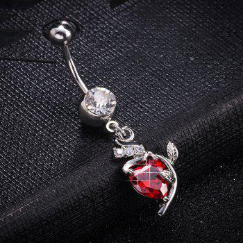 Mode Rose Zircon Navel Bague P0254 - Rouge