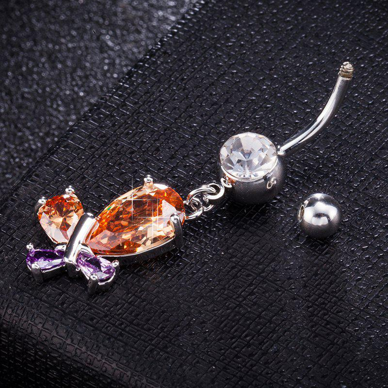 Fluttering Butterfly Zircon Navel Ring P0256 - COLORFUL