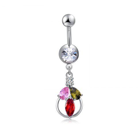 Personalized Flower Basket Zircon Navel Ring P0257 - COLORFUL