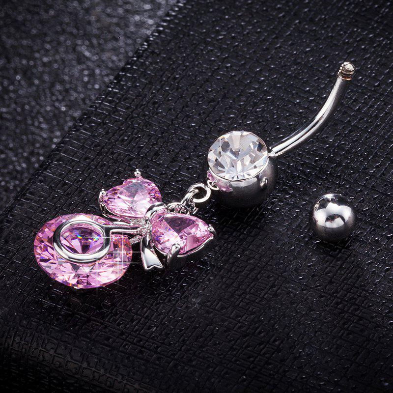Lovely Bow Knot Exquisite Zircon Navel Ring P0259 - PINK