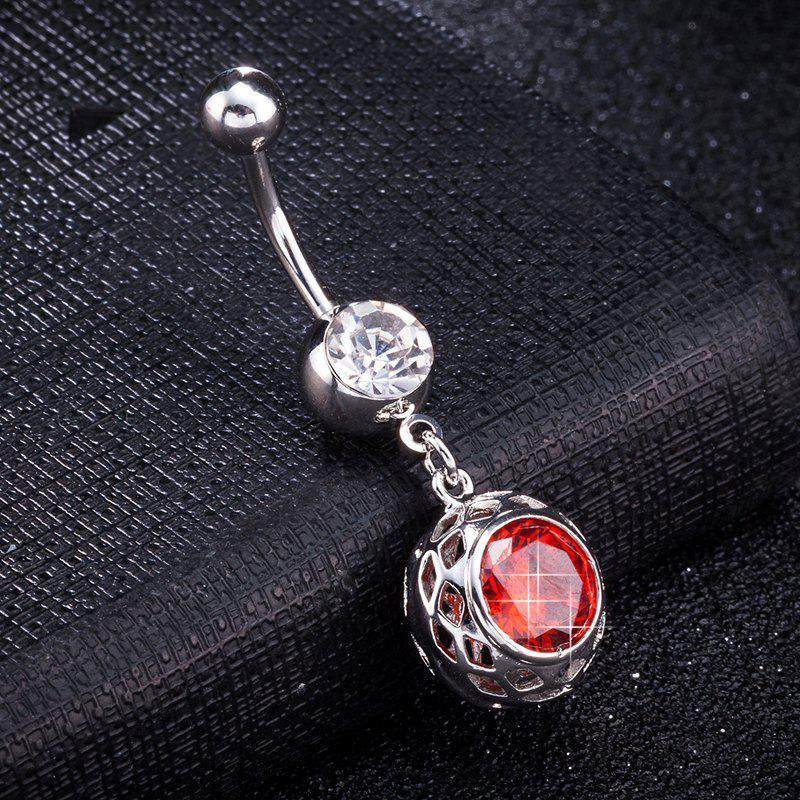 Concise Zircon Navel Ring P0260 - RED