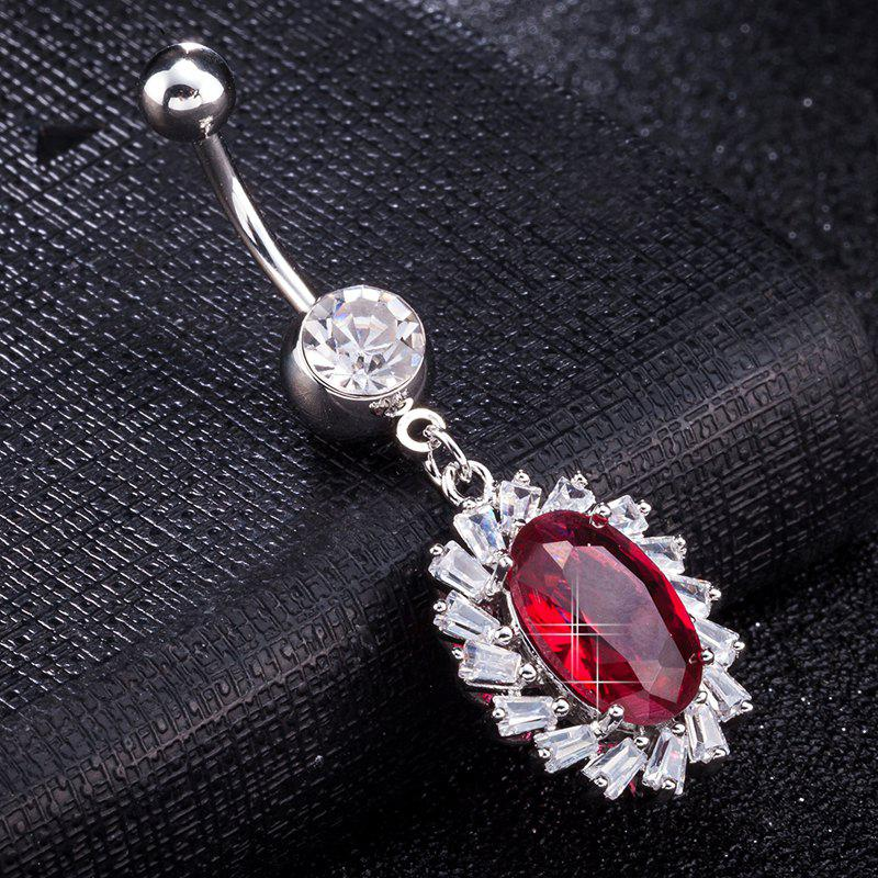 Simple Big Zircon Navel Ring P0262 - RED