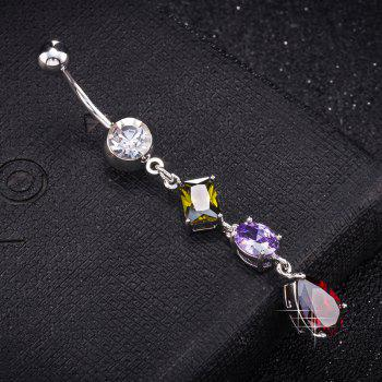 Fashion Multi Zircon Navel Ring P0266 - COLORFUL