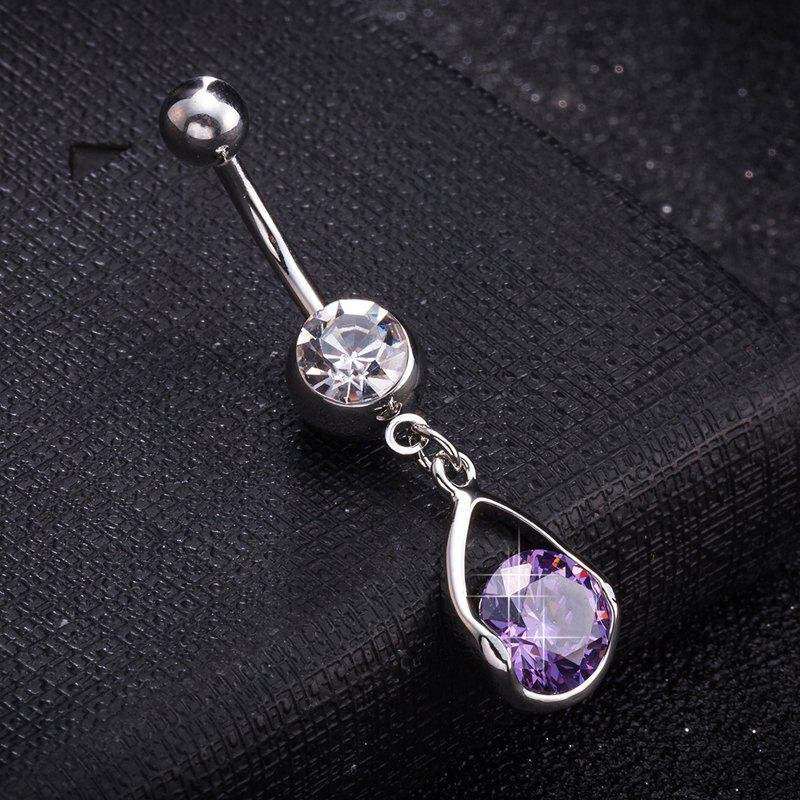 Simple Pierced Goutte d'Eau Exquis Zircon Navel Ring P0267 - Pourpre