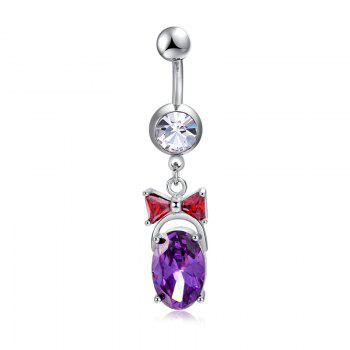 Simple Bow Big Zircon Navel Ring P0270