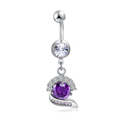 Simple CZ Navel Ring P0272 - Pourpre