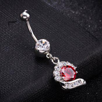 Simple  CZ Navel Ring P0272 - RED