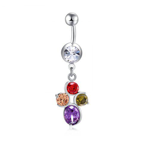 Fashion Big Petal Zircon Navel Ring P0273 - COLORFUL