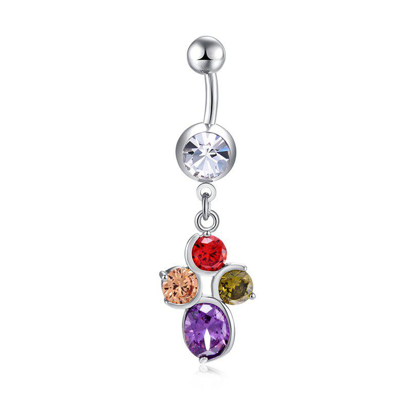 Mode Big Petal Zircon Navel Bague P0273 - coloré