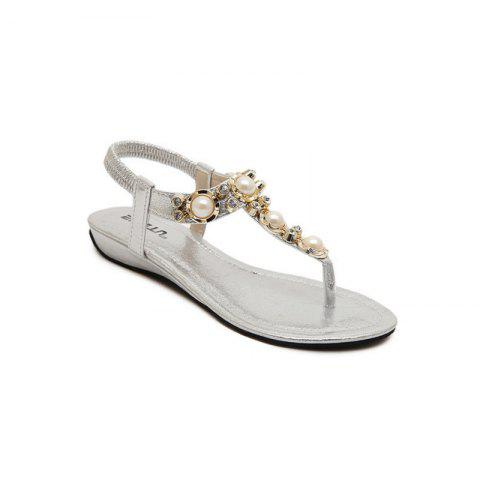 Ladies Rubber Sole Water Drill String Large Size Sandal Sandals - SILVER 38