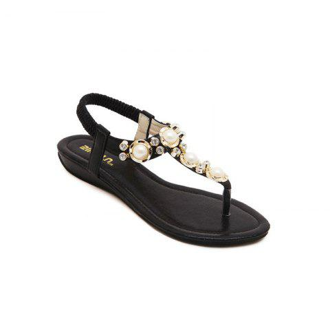 Ladies Rubber Sole Water Drill String Large Size Sandal Sandals - BLACK 36
