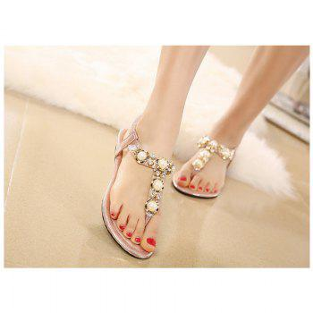 Ladies Rubber Sole Water Drill String Large Size Sandal Sandals - PINK 35