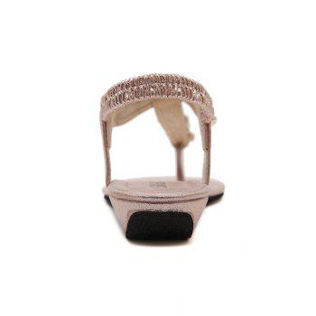 Ladies Rubber Sole Water Drill String Large Size Sandal Sandals - PINK PINK