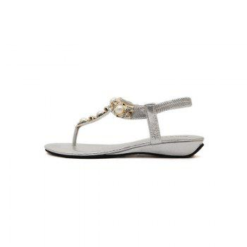Ladies Rubber Sole Water Drill String Large Size Sandal Sandals - SILVER 35