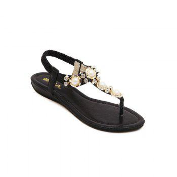 Ladies Rubber Sole Water Drill String Large Size Sandal Sandals - BLACK BLACK