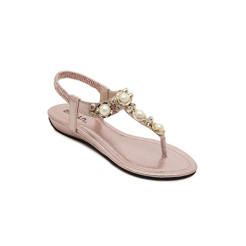 Ladies Rubber Sole Water Drill String Large Size Sandal Sandals - PINK 37