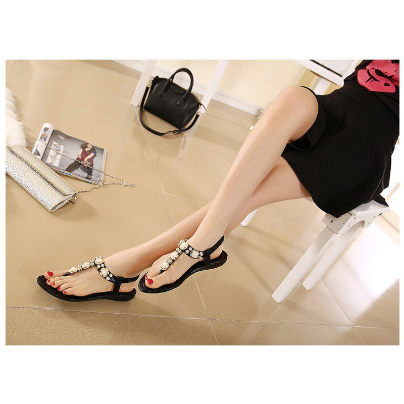 Ladies Rubber Sole Water Drill String Large Size Sandal Sandals - BLACK 35