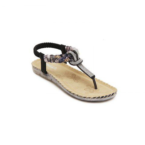 Ladies Rubber Sole Water Drill Big Foreign Trade Flat Sandals - BLACK 38