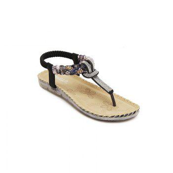 Ladies Rubber Sole Water Drill Big Foreign Trade Flat Sandals - BLACK BLACK