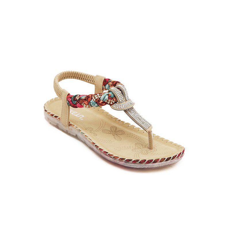Ladies Rubber Sole Water Drill Big Foreign Trade Flat Sandals - APRICOT 35