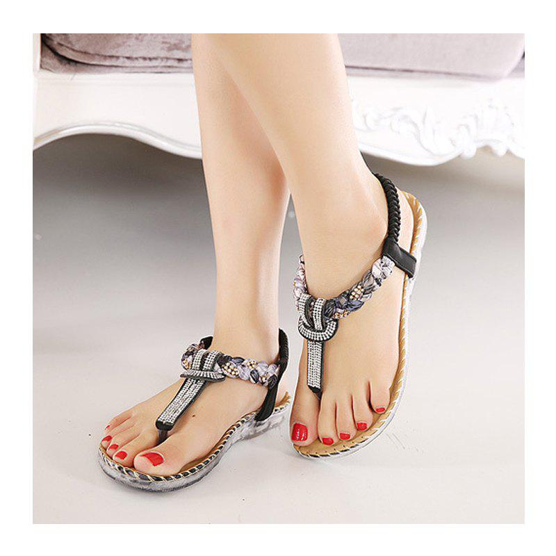 Ladies Rubber Sole Water Drill Big Foreign Trade Flat Sandals - BLACK 36
