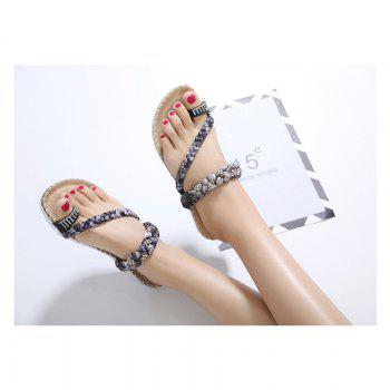 Ladies Rubber Sole Water Drill Clip Toe Foreign Trade Large Beach Sandals - BLACK 35