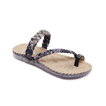Ladies Rubber Sole Water Drill Clip Toe Foreign Trade Large Beach Sandals - BLACK BLACK