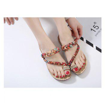 Ladies Rubber Sole Water Drill Clip Toe Foreign Trade Large Beach Sandals - APRICOT 39