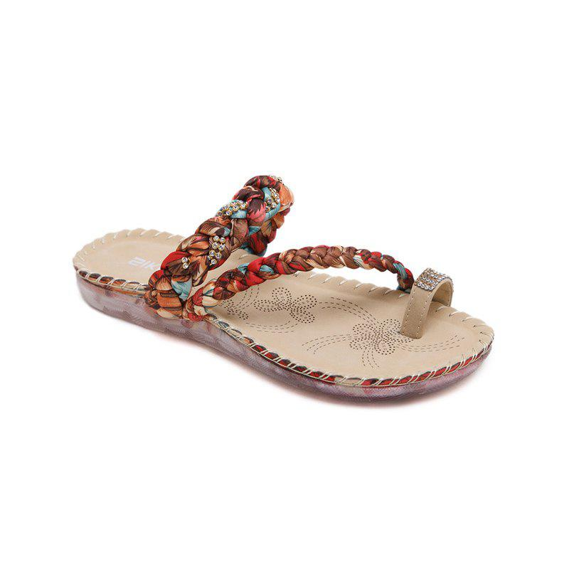 Ladies Rubber Sole Water Drill Clip Toe Foreign Trade Large Beach Sandals - APRICOT 40