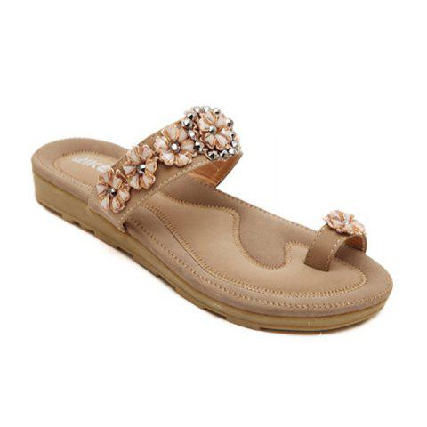 90711faa6403db Ladies Rubber Sole Water Drill String Beads and Foot Sandals - APRICOT 41