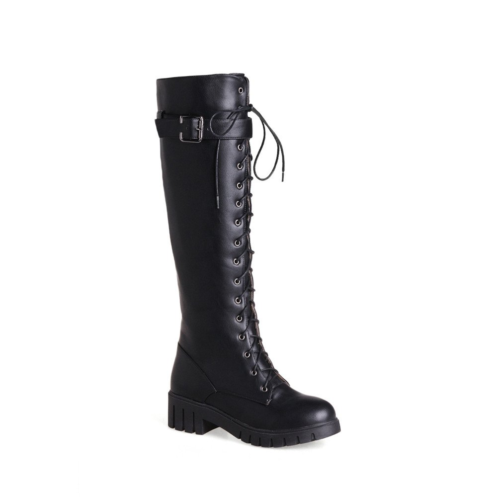 Miss Shoes Bb17-3 Thick and Round Head Wear The Long Boots - BLACK 38
