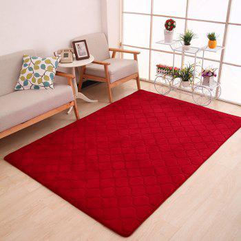 Floor Mat Thicken Coral Fleece Comfy Soft Geometric Pattern Home Mat2 - WINE RED WINE RED