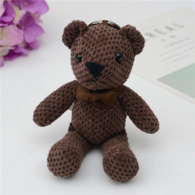 Fashionable Toy Bear Key Chain Bag Accessories - DEEP BROWN