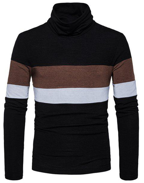 New Men'S Striped Turtleneck Collar Slim  SweaterMJ30 - BLACK M