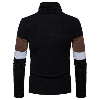 New Men'S Striped Turtleneck Collar Slim  SweaterMJ30 - BLACK L