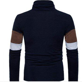 New Men'S Striped Turtleneck Collar Slim  SweaterMJ30 - CADETBLUE M