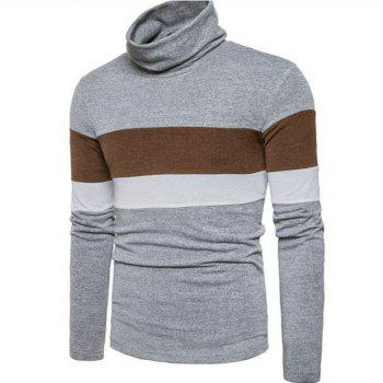 New Men'S Striped Turtleneck Collar Slim  SweaterMJ30 - LIGHT GRAY M