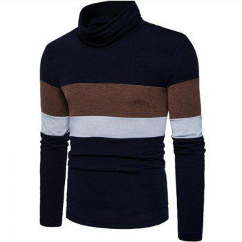 New Men'S Striped Turtleneck Collar Slim  SweaterMJ30 - CADETBLUE S