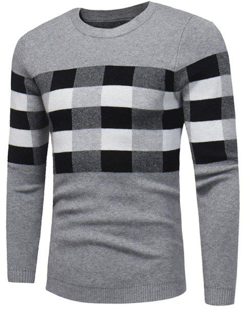 new winter Men T-shirt sweater chest box color sweater W384 - GRAY L