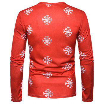 New Men'S Characteristic Letters 3D Printing Lovely Elk Round Collar Long Sleeved T-Shirt CT370 - RED RED
