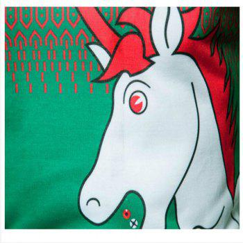 Fashion Trend Men 3D Cartoon White Dragon Horse Printing Round Long Sleeved T-Shirt CT367 - IVY IVY