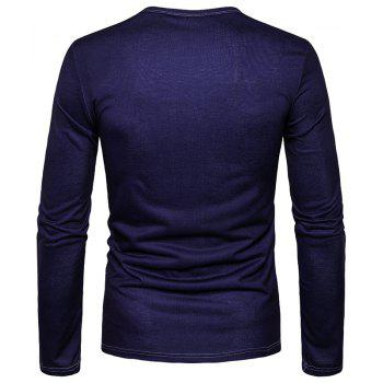Men'S Personality Fashion Cartoon Camel 3D Printed Round Collar Long Sleeved T-Shirt CT363 - PURPLISH BLUE M