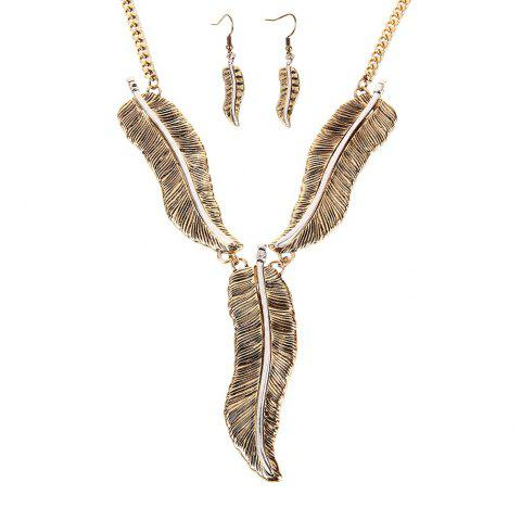 Fashion Personality Feather Pendant Necklace Earrings Jewelry Set Ladies Jewelry - GOLDEN