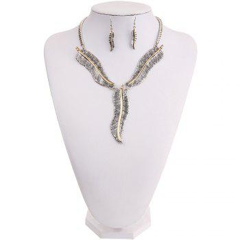 Fashion Personality Feather Pendant Necklace Earrings Jewelry Set Ladies Jewelry - SILVER