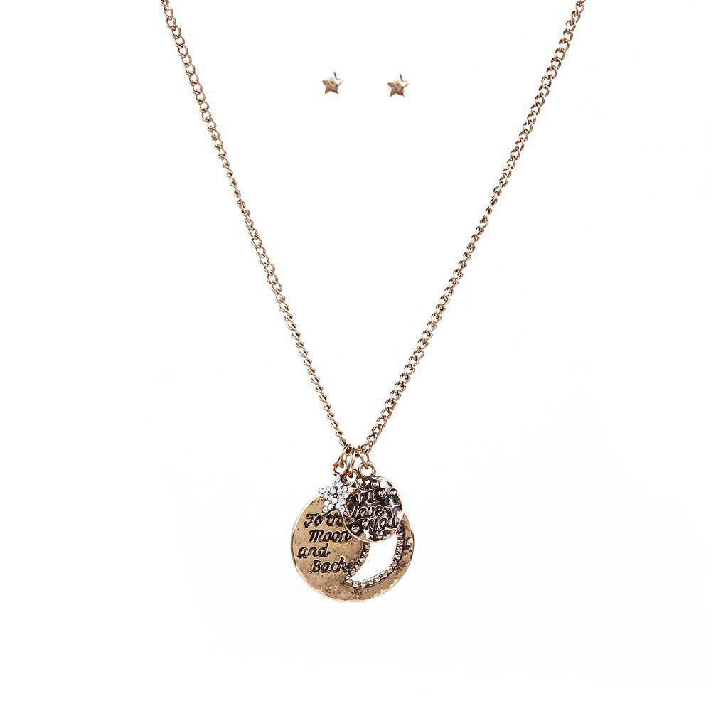 New Necklace Hollow Moon Flash Diamond Necklace Set Lettering Sweater Chain Fashion Retro Necklace Earrings Jewelry Set - GOLDEN