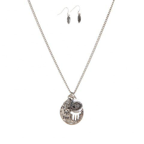 New Letter Necklace Eye Palm Long Sweater Chain Popular Personalized Earrings and Necklaces Jewelry Set - SILVER