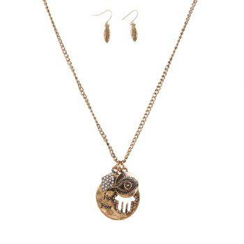New Letter Necklace Eye Palm Long Sweater Chain Popular Personalized Earrings and Necklaces Jewelry Set - GOLDEN GOLDEN