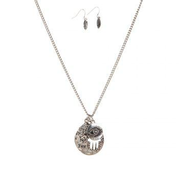 New Letter Necklace Eye Palm Long Sweater Chain Popular Personalized Earrings and Necklaces Jewelry Set - SILVER SILVER