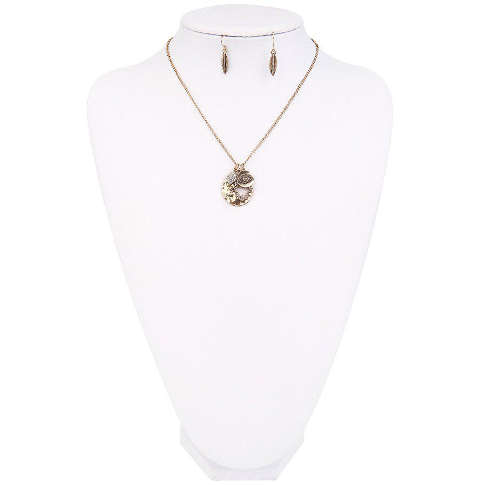 New Letter Necklace Eye Palm Long Sweater Chain Popular Personalized Earrings and Necklaces Jewelry Set - GOLDEN