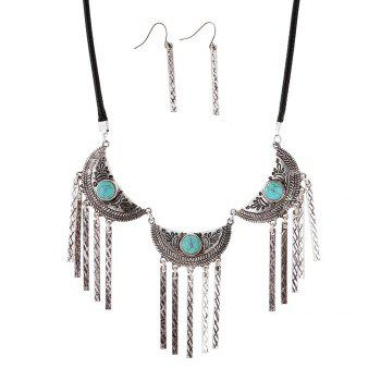 New Vintage Leather Necklace Set Turquoise Earrings Necklace Jewelry Set - SILVER SILVER
